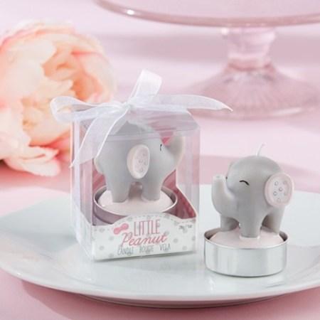Pink Safari Elephant Little peanut baby shower tea light candles