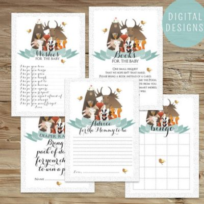 Printable Woodland animals baby shower game set