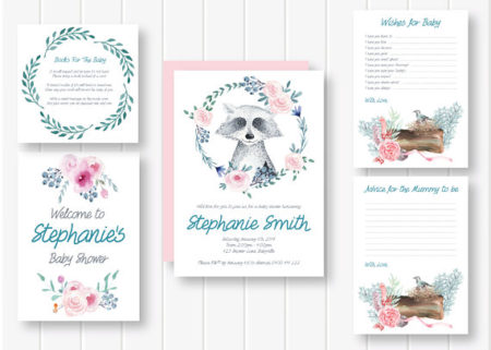 Boho Raccoon Tribal baby shower invite and card set