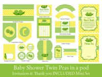 Digital Pea in pod baby shower party kit