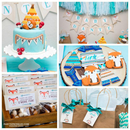DIY Fox Woodland baby shower dessert table decorations and supplies