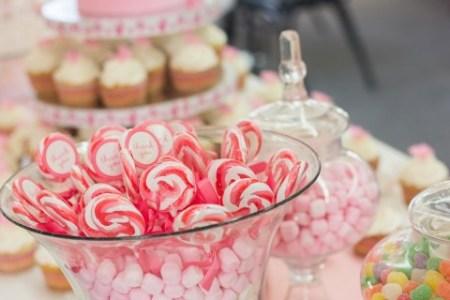 pink baby shower dessert table