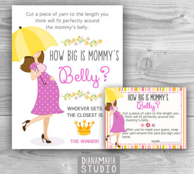 Digital Guess how big Mom has a big belly baby shower game