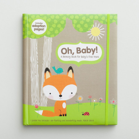 Christian woodland fox baby memory book