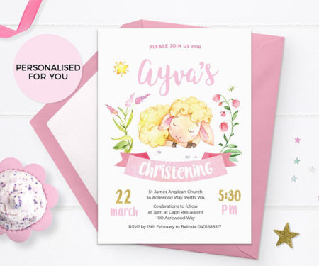Printable Lamb Baptism and Religious girls invitation