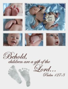 Baby picture with Bible verse