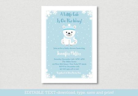 Polar Bear digital Winter baby shower invite