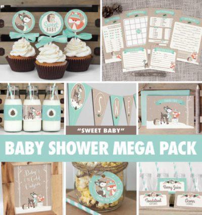 instant download winter woodland animals baby shower kit