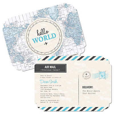 Hello world boy baby shower invites