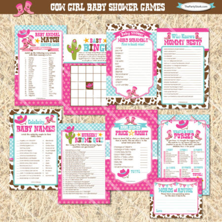 DIY Cowgirl baby shower games digital file
