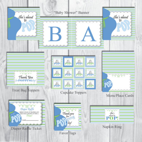 Printable About to Pop baby shower theme boys