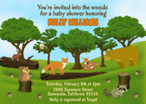 Printable Forest baby shower invitation