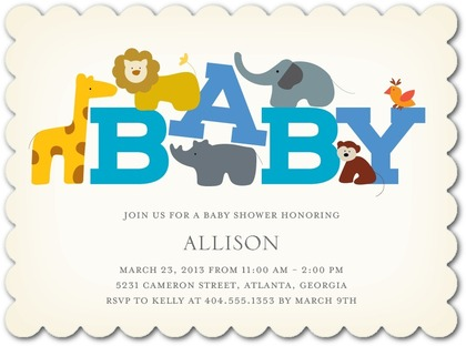 zoo theme baby shower invite