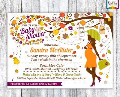 pregnant mom printable Fall baby shower invitation