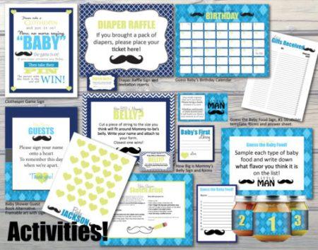 DIY Mustache baby shower templates