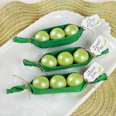 DIY baby shower peas in pods favors