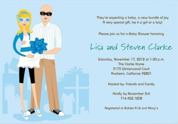 Blue boy couples baby shower invitation wording