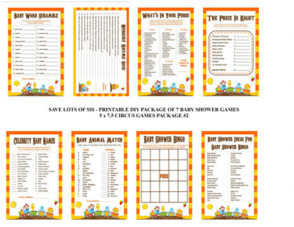 Printable carnival baby shower games