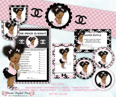 Digital Chic African American baby girl shower package