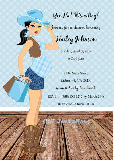 Digital blue cowgirl baby shower invite