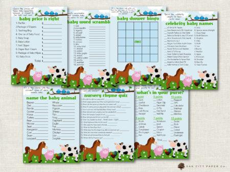 7 Digital Farm Barn Animals baby shower games