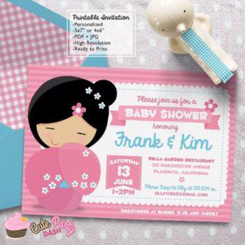 Digital Japanese doll baby shower invite