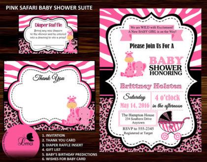 Digital Pink Jungle Baby shower invite set