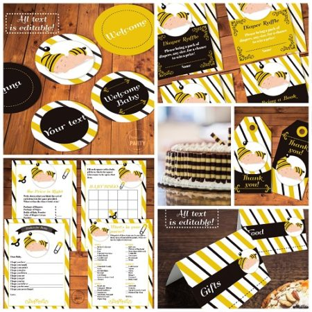 Bumble bee baby shower decor and game set digital