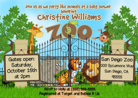 kids zoo themed party invitation printable