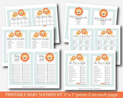 Printable Jungle Lions baby shower game set