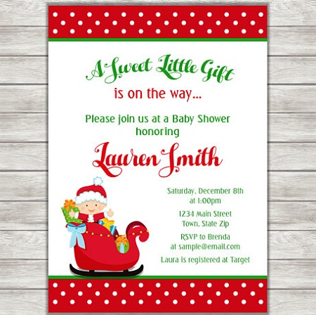 Printable Santa Claus Christmas baby shower invitaiton