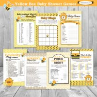 Printable Honey Bumble-bee themed baby shower game set