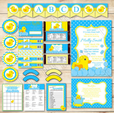DIY Rubber Duck Baby Shower invitation and decorations