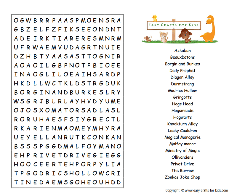 Free Harry Potter Word Search Puzzles