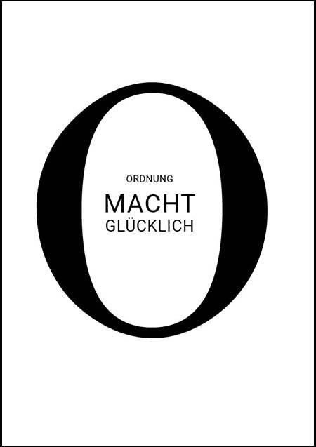 """Typographisches Poster """"Ordnung macht glücklich"""""""