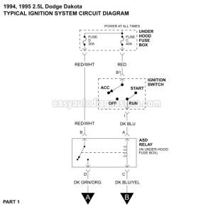 19931995 25L Dodge Dakota Ignition System Wiring Diagram