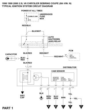 Ignition System Wiring Diagram (19982000 25L V6 Chrysler Sebring Coupe)