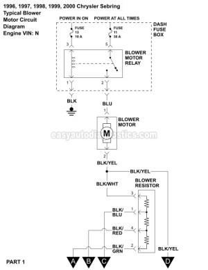 Blower Motor Wiring Diagram (19962000 25L V6 Sebring And Avenger)