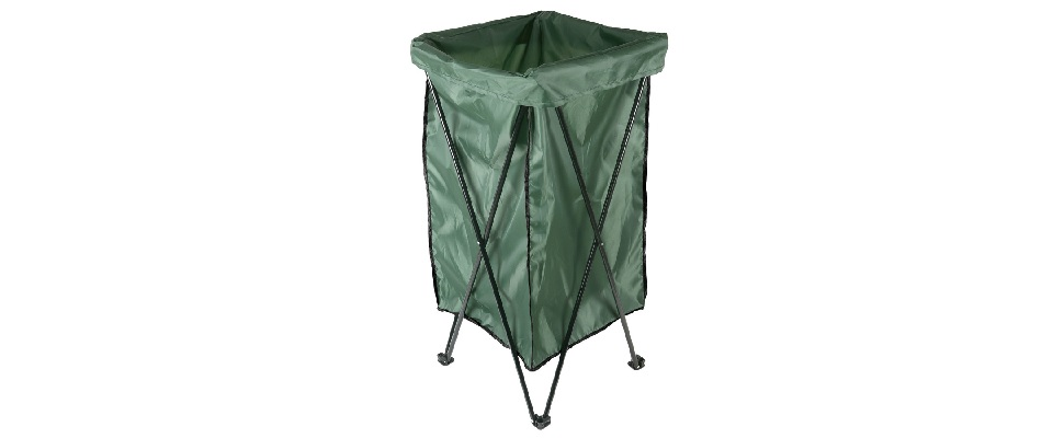 Reusable Lawn and Leaf Trash Bag Holder Stand with Bag