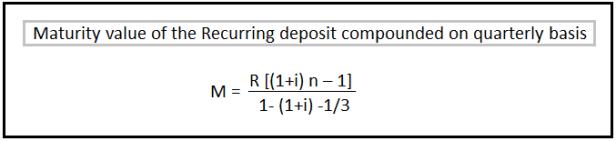 Recurring Deposit Interest Calculation Formula