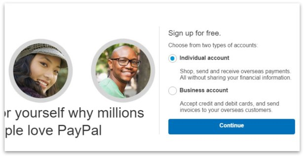 how to create PayPal account step 3