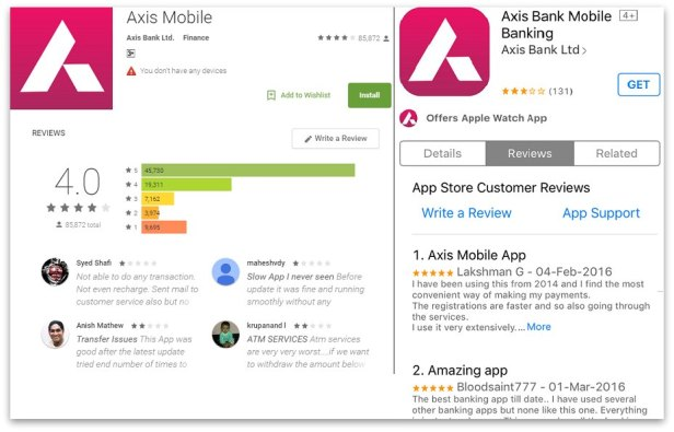 axis mobile banking android and Apple