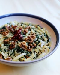 Cabbage, Spinach Stir-fry with Walnuts