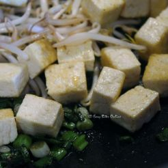 add pan fried tofu, bean sprouts, mix everything well