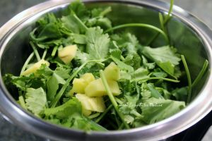 add mint leaves, coriander, ginger, lemon juice, salt, green chili and blend to a smooth paste adding small amounts of water