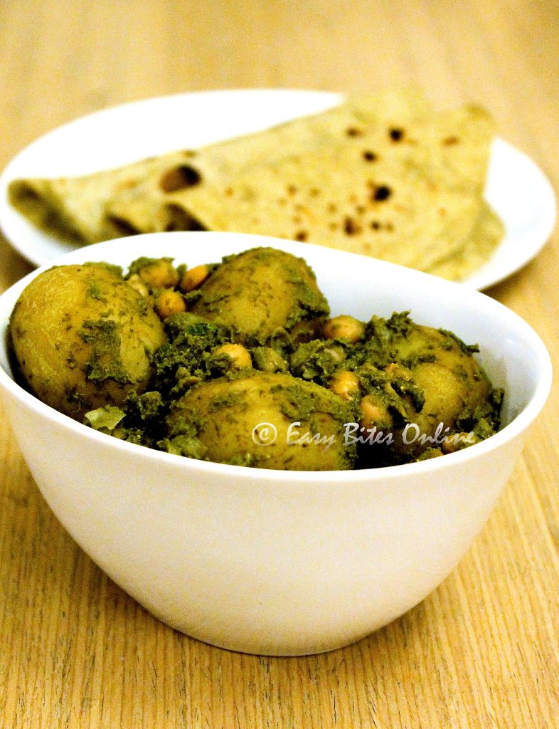 baby potatoes and chickpeas in green masala