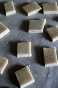place the pieces on a lined greased tray and bake at 180 deg C