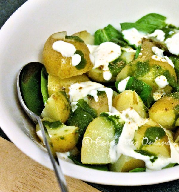 potato spinach chat salad