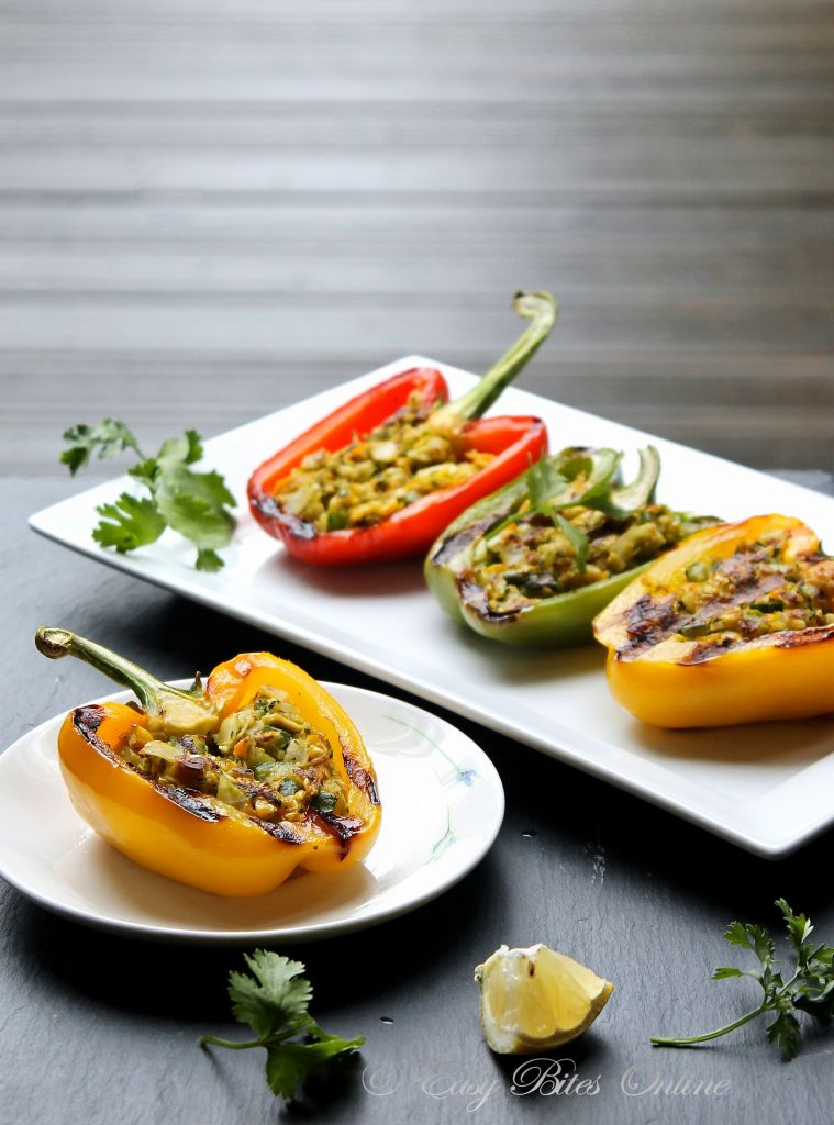 Grilled Stuffed Peppers With Tofu and Walnuts