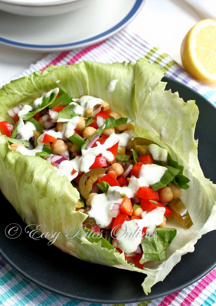 lettuce salad wrap with tzatziki sauce